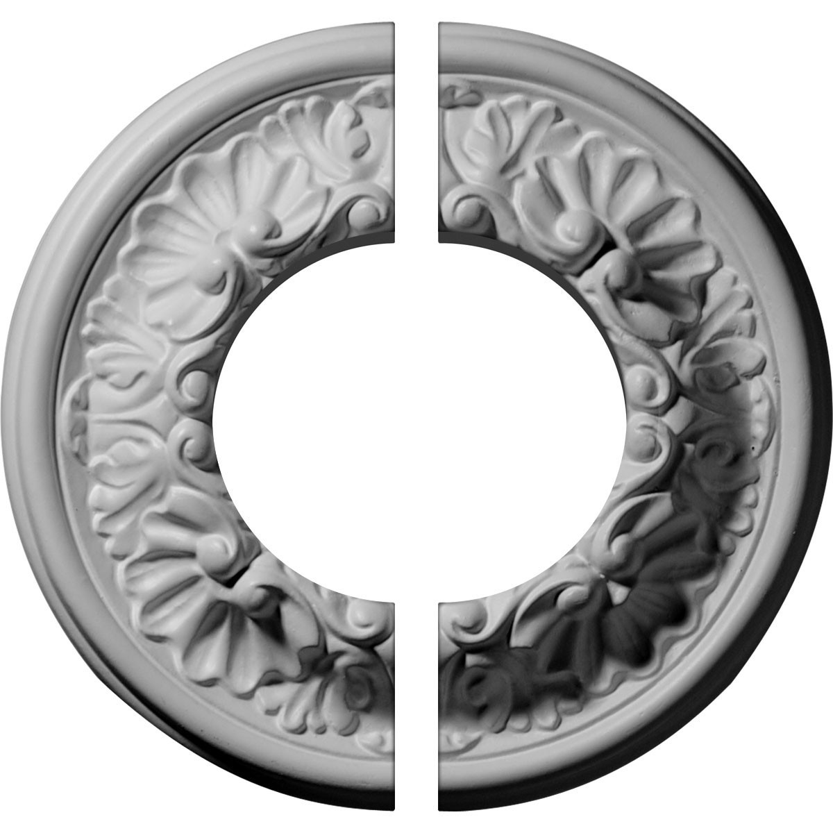 """EM-CM07OD2-03500 - 7 1/2""""OD x 3 1/2""""ID x 1 1/8""""P Odessa Ceiling Medallion, Two Piece (Fits Canopies up to 3 1/2"""")"""