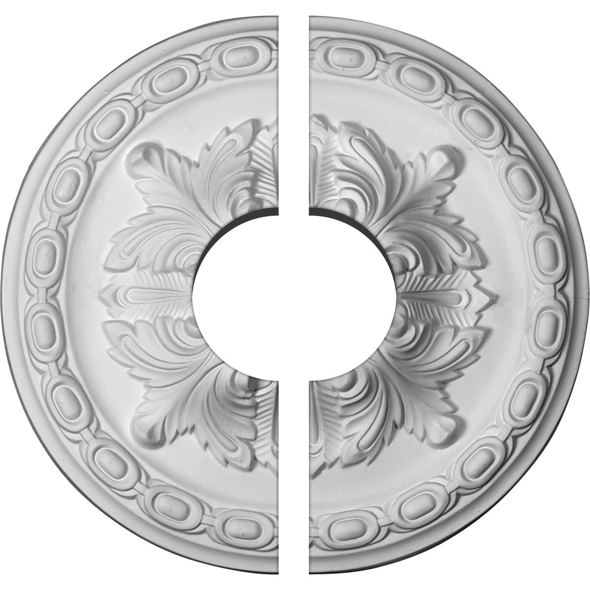 """EM-CM11AC2-03500 - 11 3/8""""OD x 3 1/2""""ID x 2""""P Acanthus Ceiling Medallion, Two Piece (Fits Canopies up to 3 1/2"""")"""