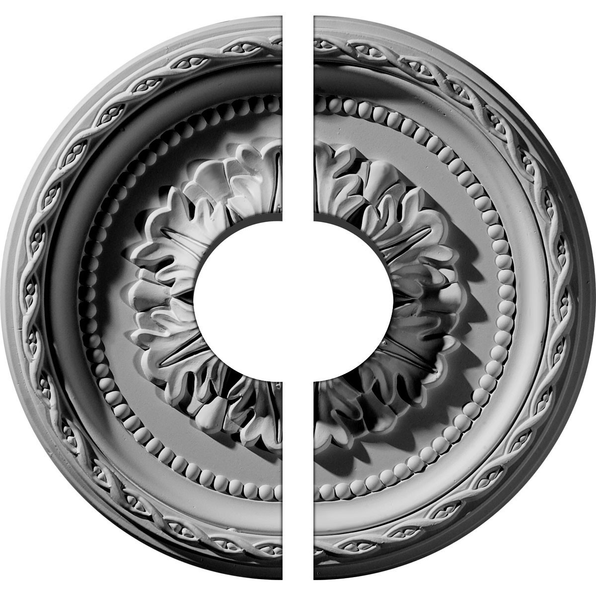 """EM-CM11PA2-03500 - 11 1/2""""OD x 3 1/2""""ID x 1""""P Palmetto Ceiling Medallion, Two Piece (Fits Canopies up to 3 1/2"""")"""
