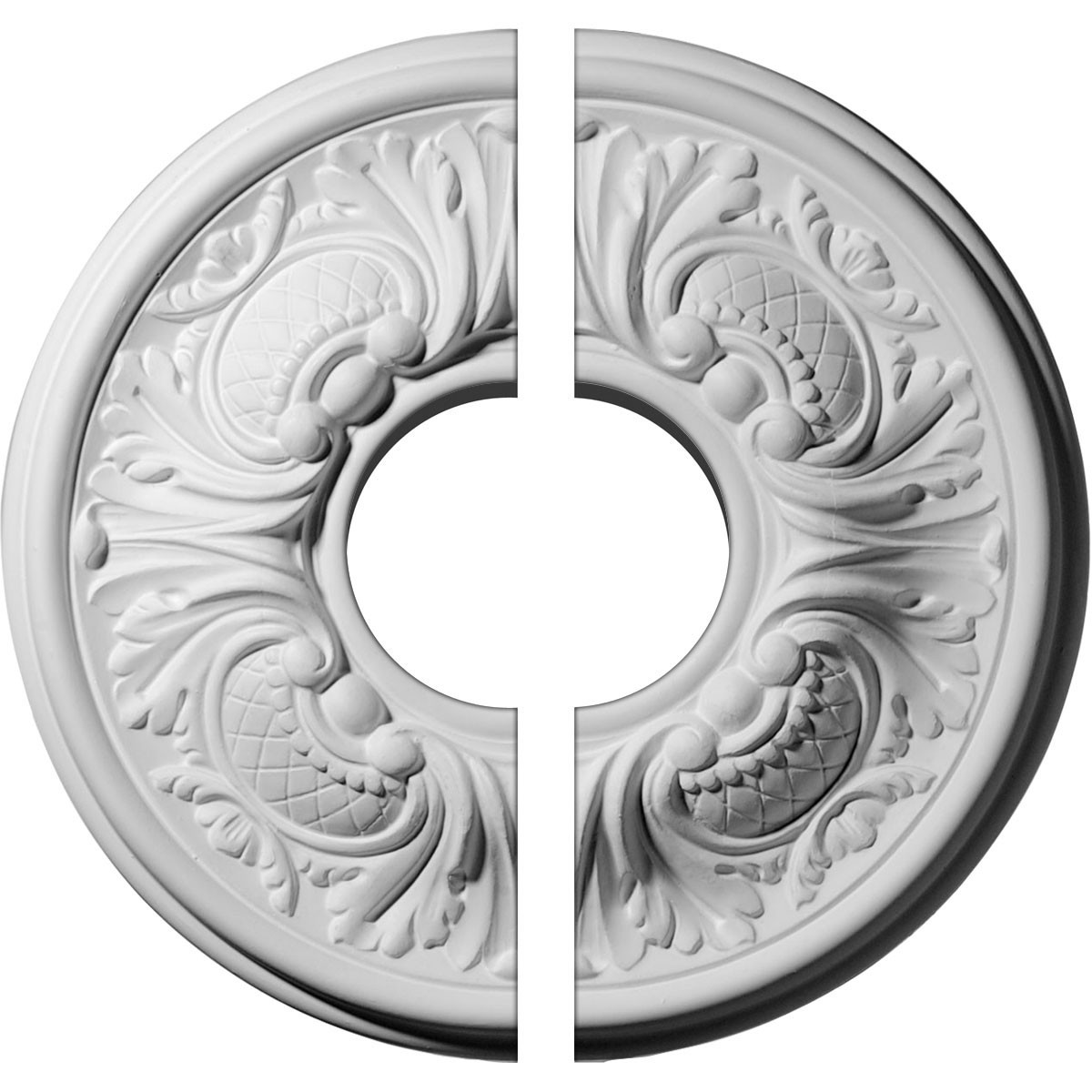 "EM-CM11WA2-03500 - 11 3/4""OD x 3 1/2""ID x 1 1/4""P Wakefield Ceiling Medallion, Two Piece (Fits Canopies up to 3 5/8"")"