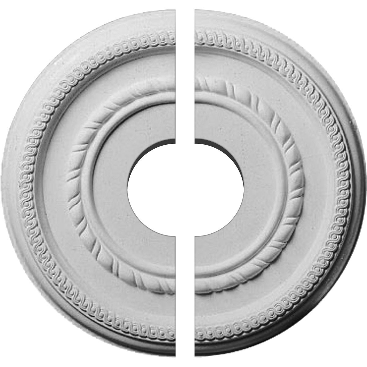 "EM-CM12FE2-03500 - 12 5/8""OD x 3 1/2""ID x 1 1/8""P Federal Roped Small Ceiling Medallion, Two Piece (Fits Canopies up to 6"")"