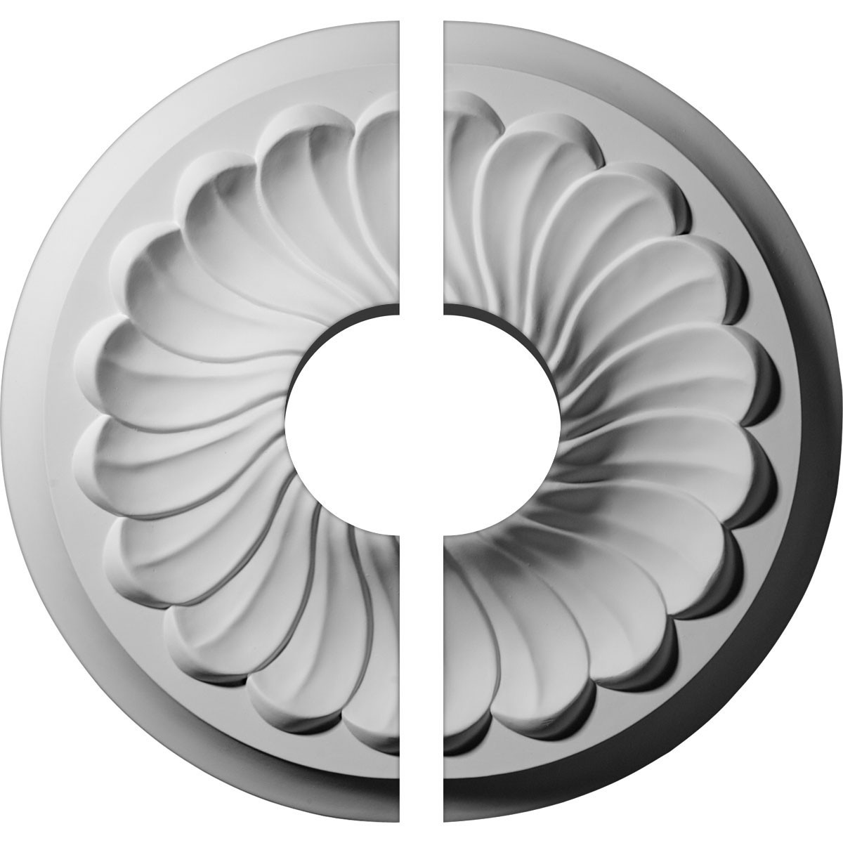 """EM-CM12FL2-03500 - 12 1/4""""OD x 3 1/2""""ID x 2 1/4""""P Flower Spiral Ceiling Medallion, Two Piece (Fits Canopies up to 3 1/2"""")"""