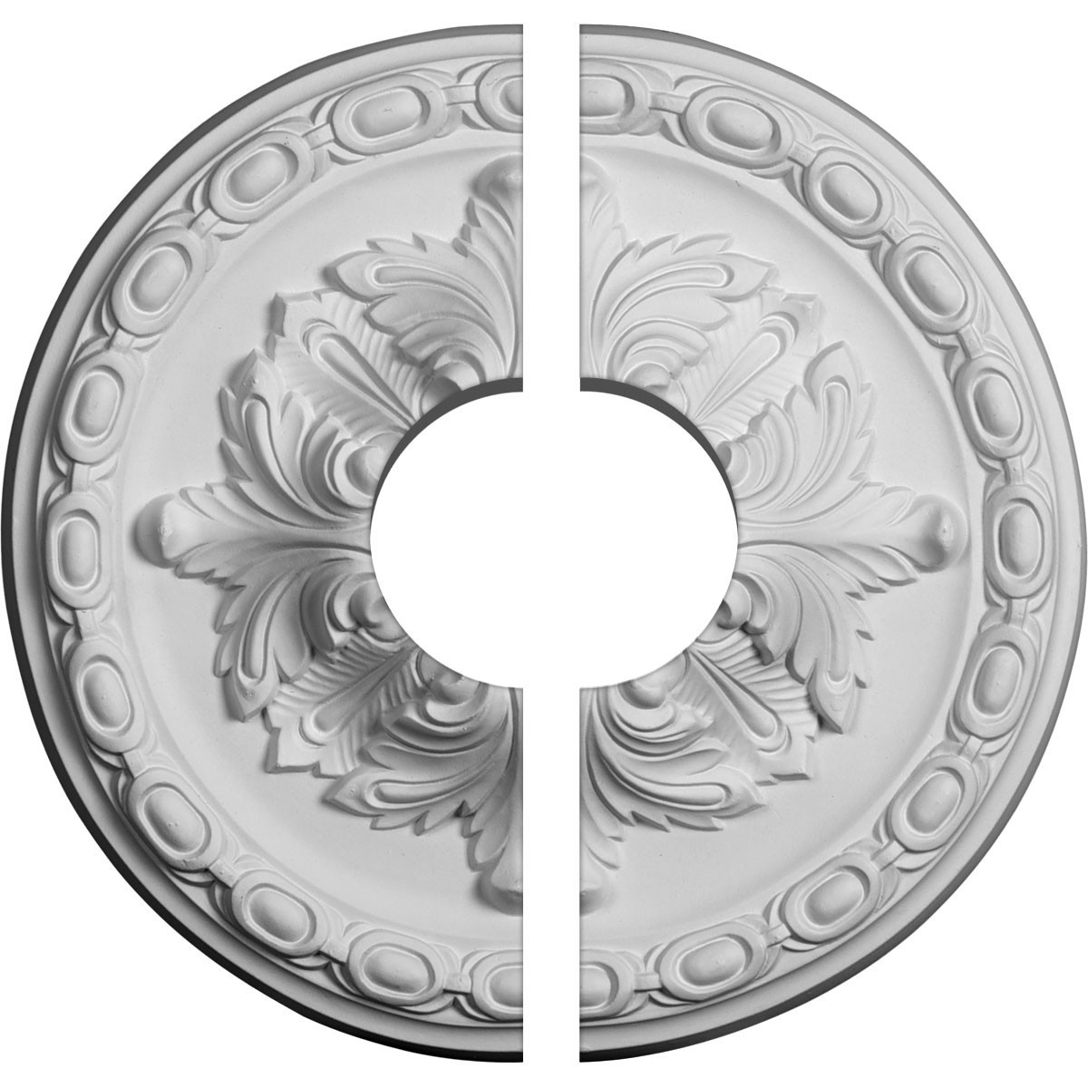"""EM-CM12ST2-03500 - 11 3/4""""OD x 3 1/2""""ID x 3/8""""P Stockport Ceiling Medallion, Two Piece (Fits Canopies up to 3 1/2"""")"""