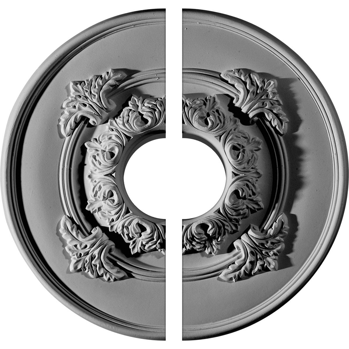 """EM-CM13MO2-03500 - 13 3/4""""OD x 3 1/2""""ID x 1""""P Monique Ceiling Medallion, Two Piece (Fits Canopies up to 3 3/4"""")"""