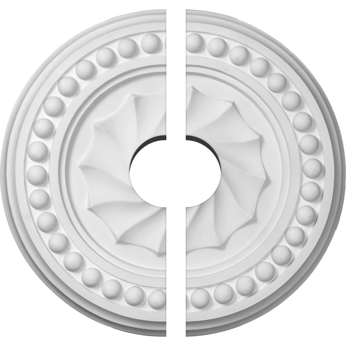 """EM-CM15FO2-03500 - 15 3/4""""OD x 3 1/2""""ID x 2""""P Foster Shell Ceiling Medallion, Two Piece (Fits Canopies up to 9 5/8"""")"""