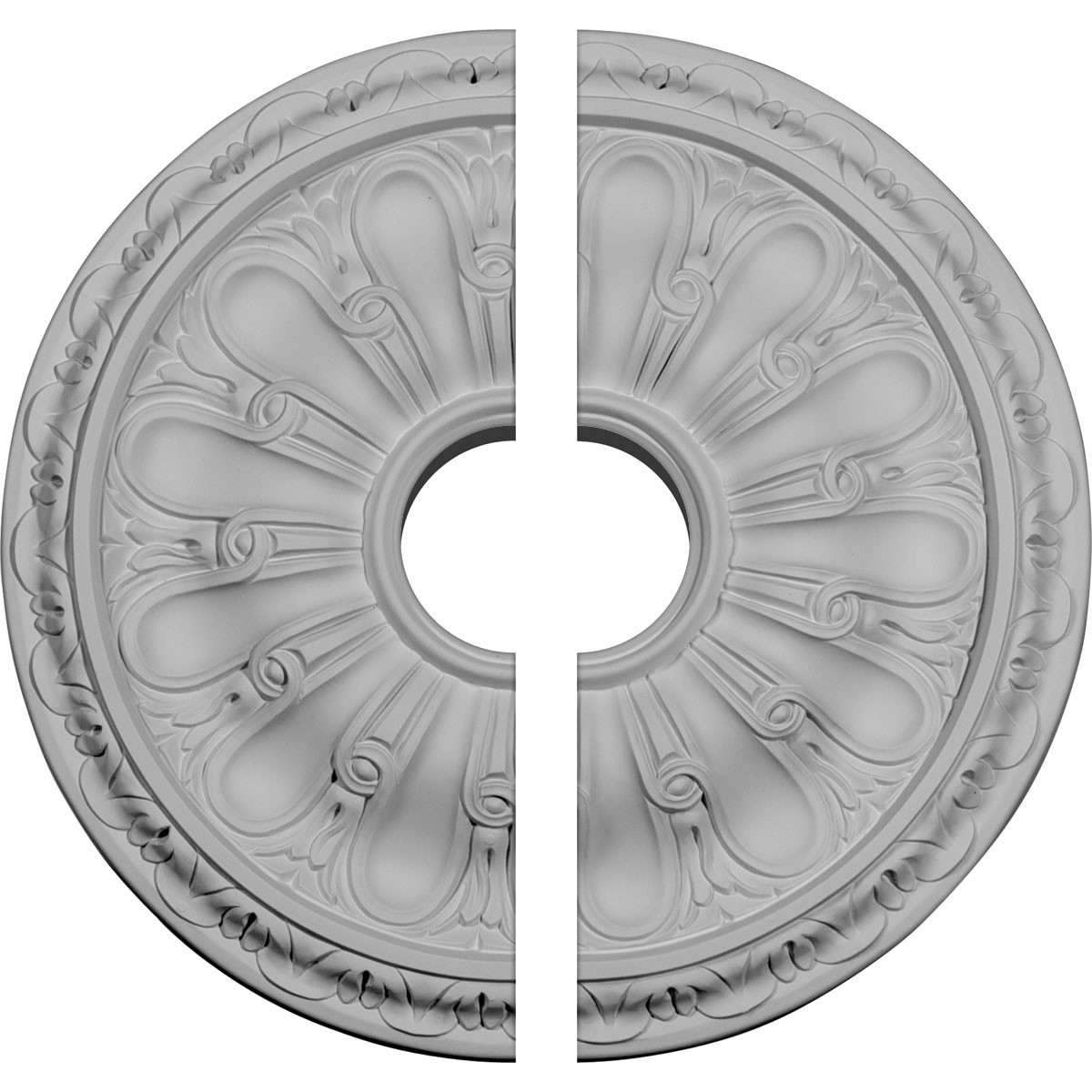 "EM-CM16KI2-03500 - 15 3/4""OD x 3 1/2""ID x 5/8""P Kirke Ceiling Medallion, Two Piece (Fits Canopies up to 3 3/4"")"