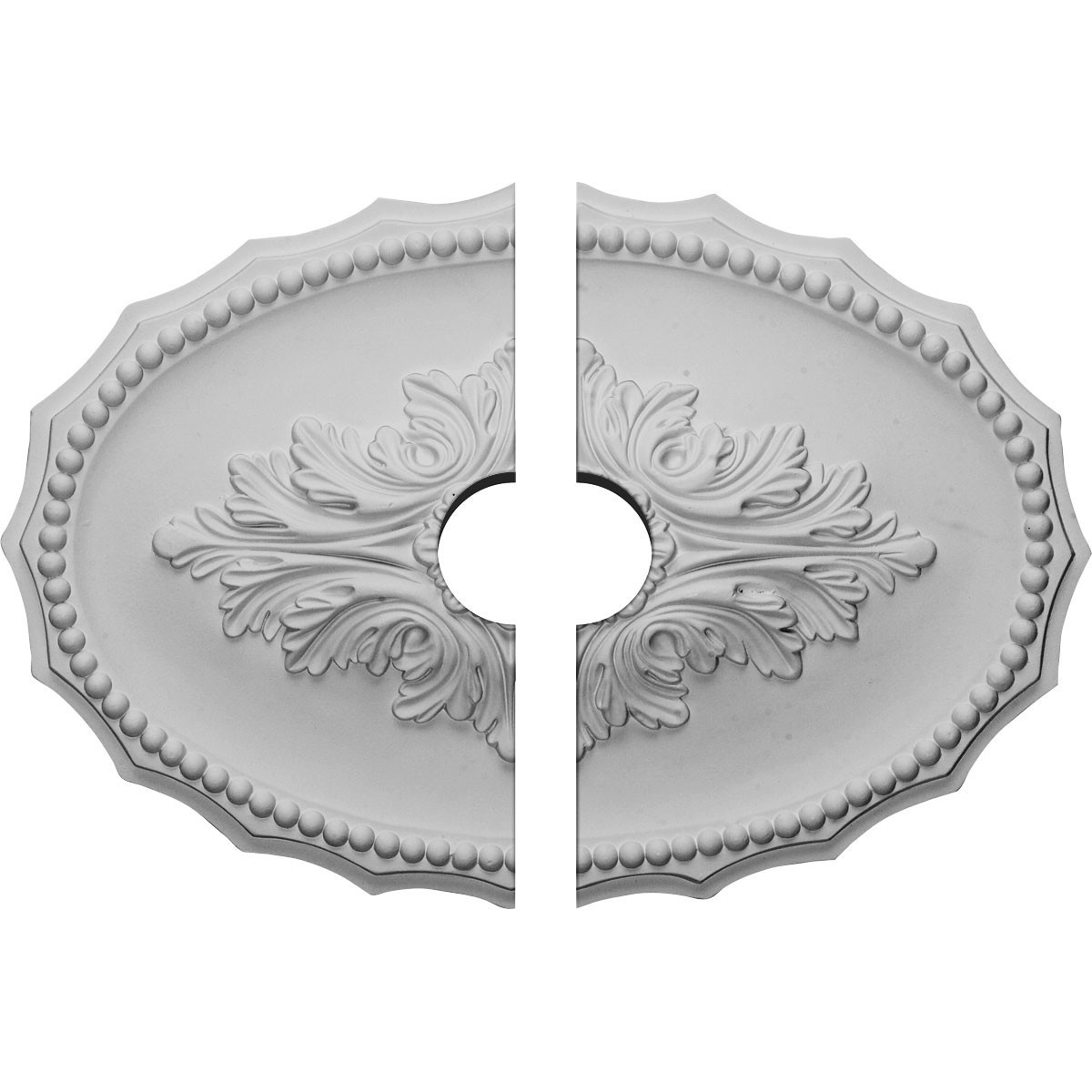 "EM-CM16OX2-03500 - 16 7/8""W x 11 3/4""H x 3 1/2""ID x 1 1/2""P Oxford Ceiling Medallion, Two Piece (Fits Canopies up to 3 1/2"")"