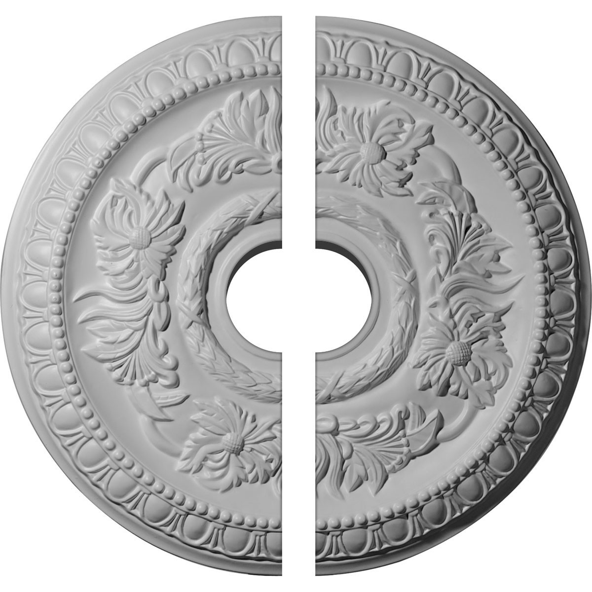 """EM-CM17CA2-03500 - 17 5/8""""OD x 3 1/2""""ID x 1 1/8""""P Cambridge Ceiling Medallion, Two Piece (Fits Canopies up to 4 3/4"""")"""