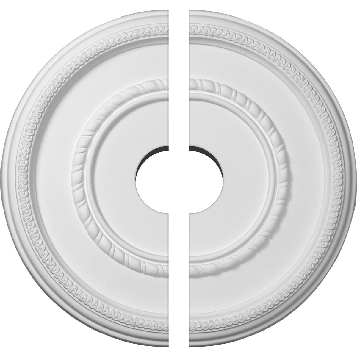 "EM-CM17FE2-03500 - 17 3/8""OD x 3 1/2""ID x 1 1/8""P Federal Roped Large Ceiling Medallion, Two Piece (Fits Canopies up to 7 3/4"")"