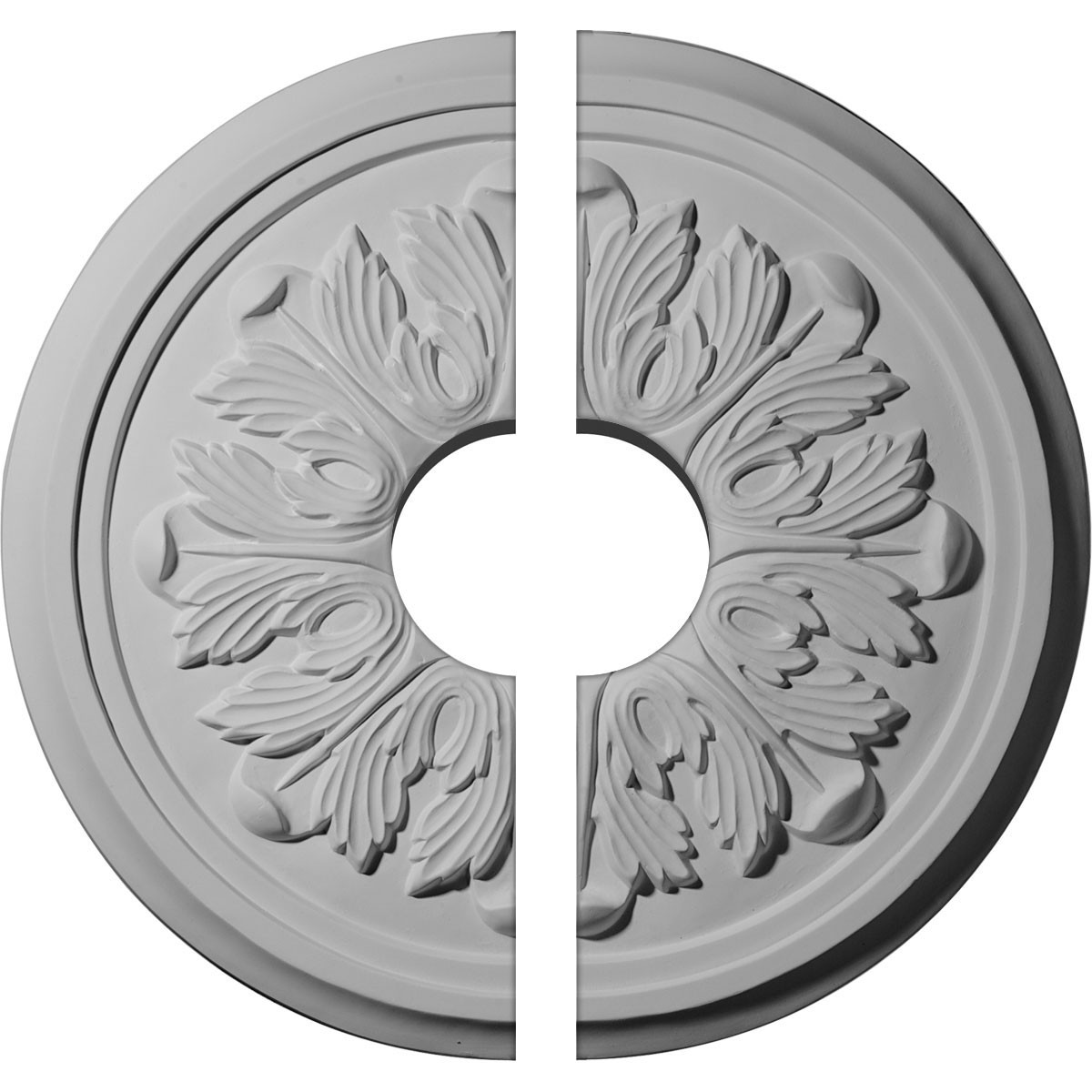 "EM-CM17LE2-03500 - 17 7/8""OD x 3 1/2""ID x 1 1/8""P Large Legacy Acanthus Ceiling Medallion, Two Piece (Fits Canopies up to 4 1/4"")"