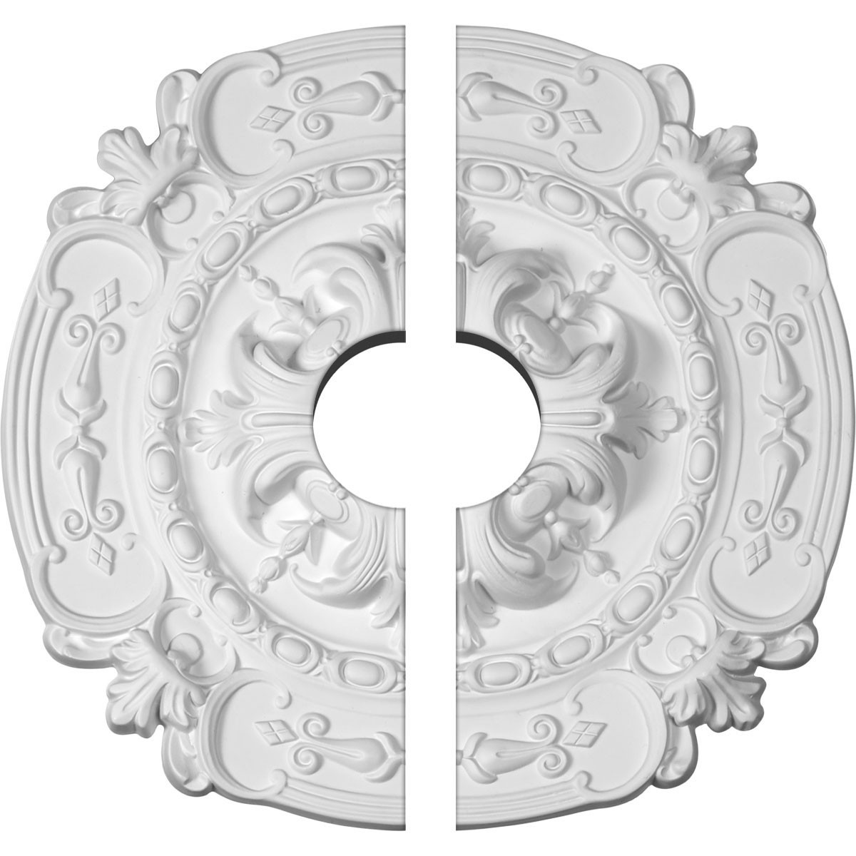 "EM-CM17SO2-03500 - 16 3/8""OD x 3 1/2""ID x 1 3/4""P Southampton Ceiling Medallion, Two Piece (Fits Canopies up to 3 1/2"")"