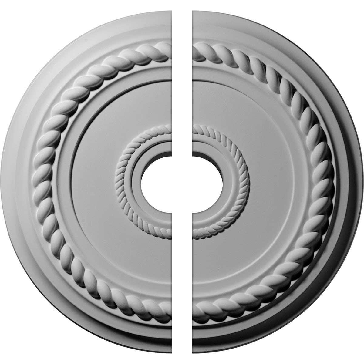 "EM-CM18AL2-03500 - 19 5/8""OD x 3 1/2""ID x 1 1/2""P Alexandria Rope Ceiling Medallion, Two Piece (Fits Canopies up to 4 5/8"")"