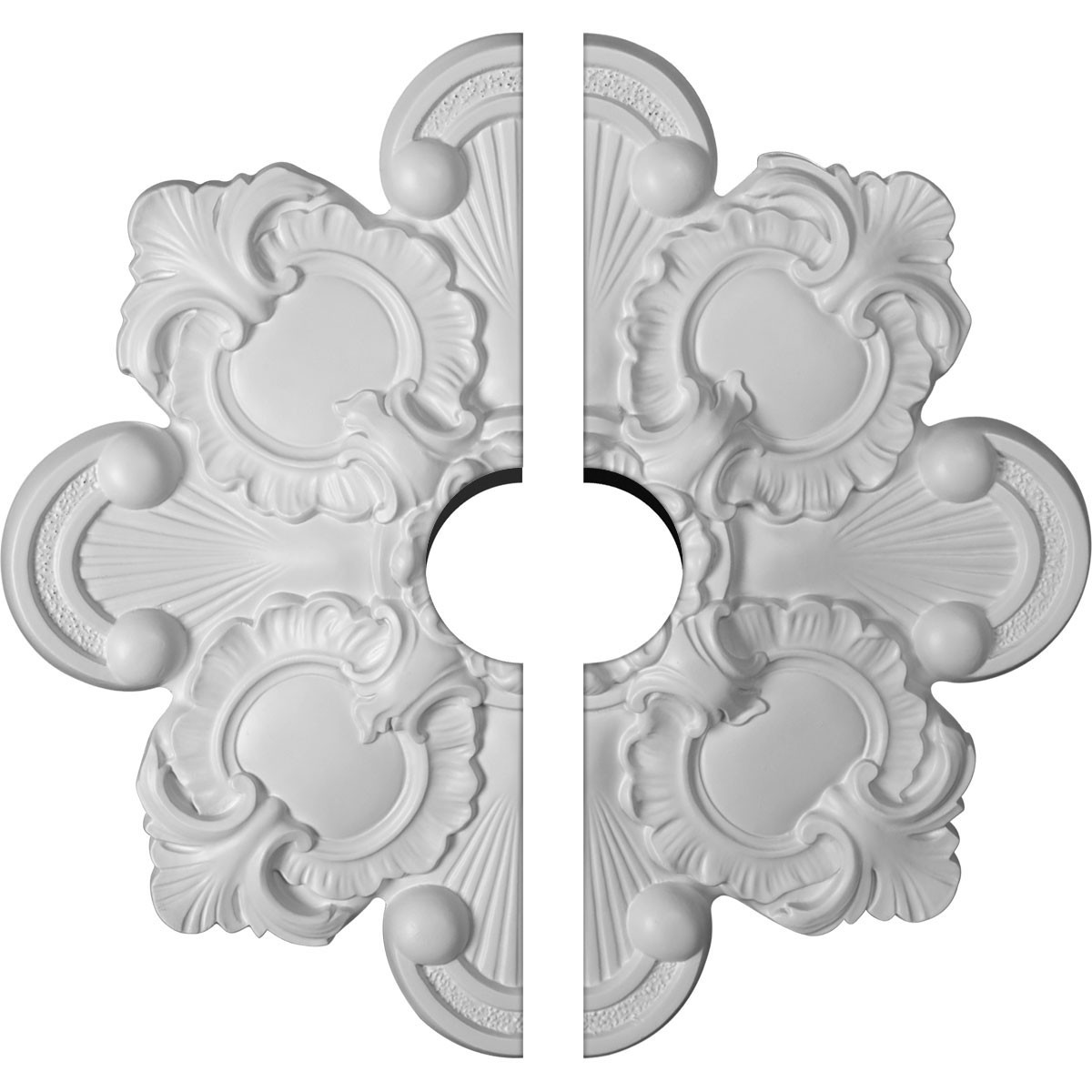 "EM-CM18KA2-03500 - 18 1/8""OD x 3 1/2""ID x 1 1/4""P Katheryn Ceiling Medallion, Two Piece (Fits Canopies up to 3 1/2"")"