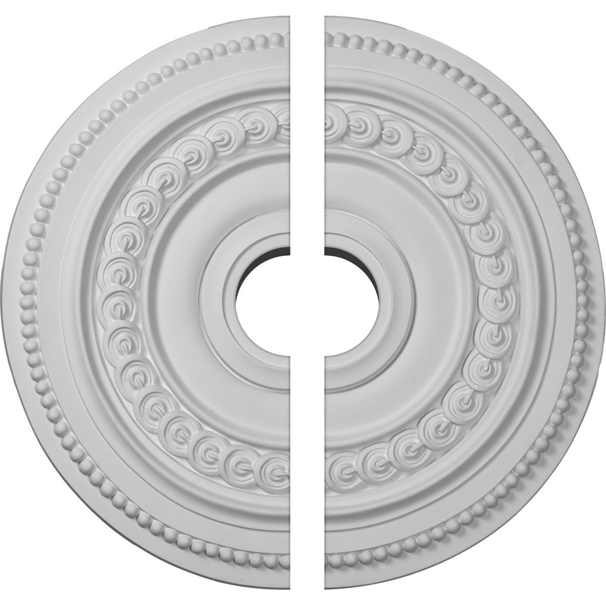 "EM-CM18OL2-03500 - 18""OD x 3 1/2""ID x 1 1/4""P Oldham Ceiling Medallion, Two Piece (Fits Canopies up to 8 5/8"")"
