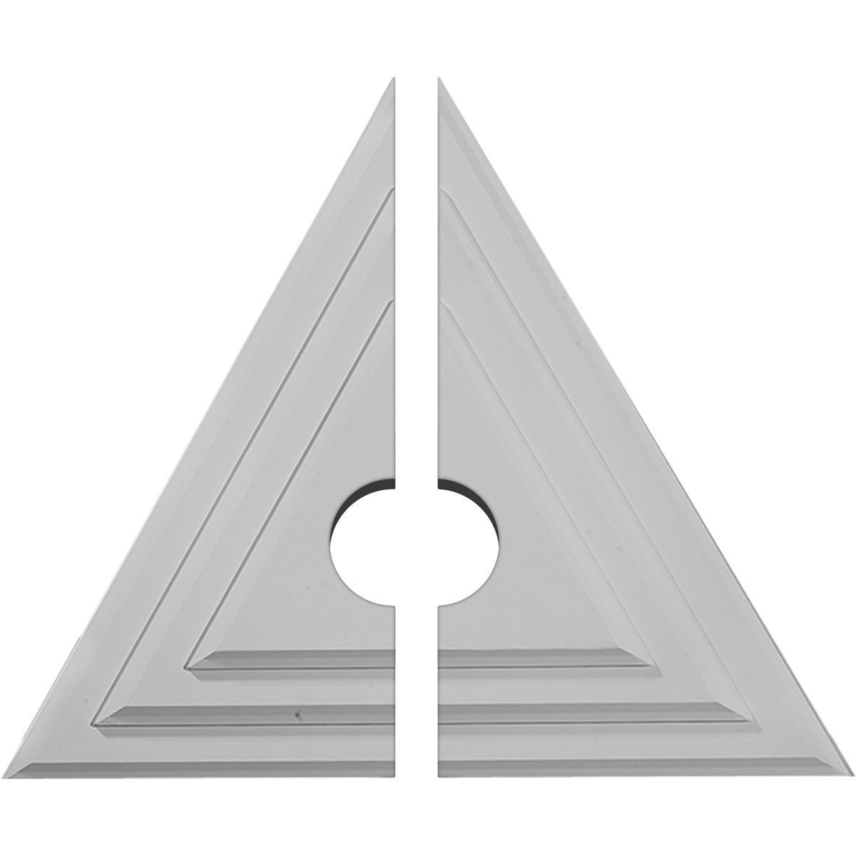 "EM-CM19TG2-03500 - 19""W x 16 5/8""H x 3 1/2""ID x 1 1/8""P Triangle Ceiling Medallion, Two Piece (Fits Canopies up to 3 1/2"")"