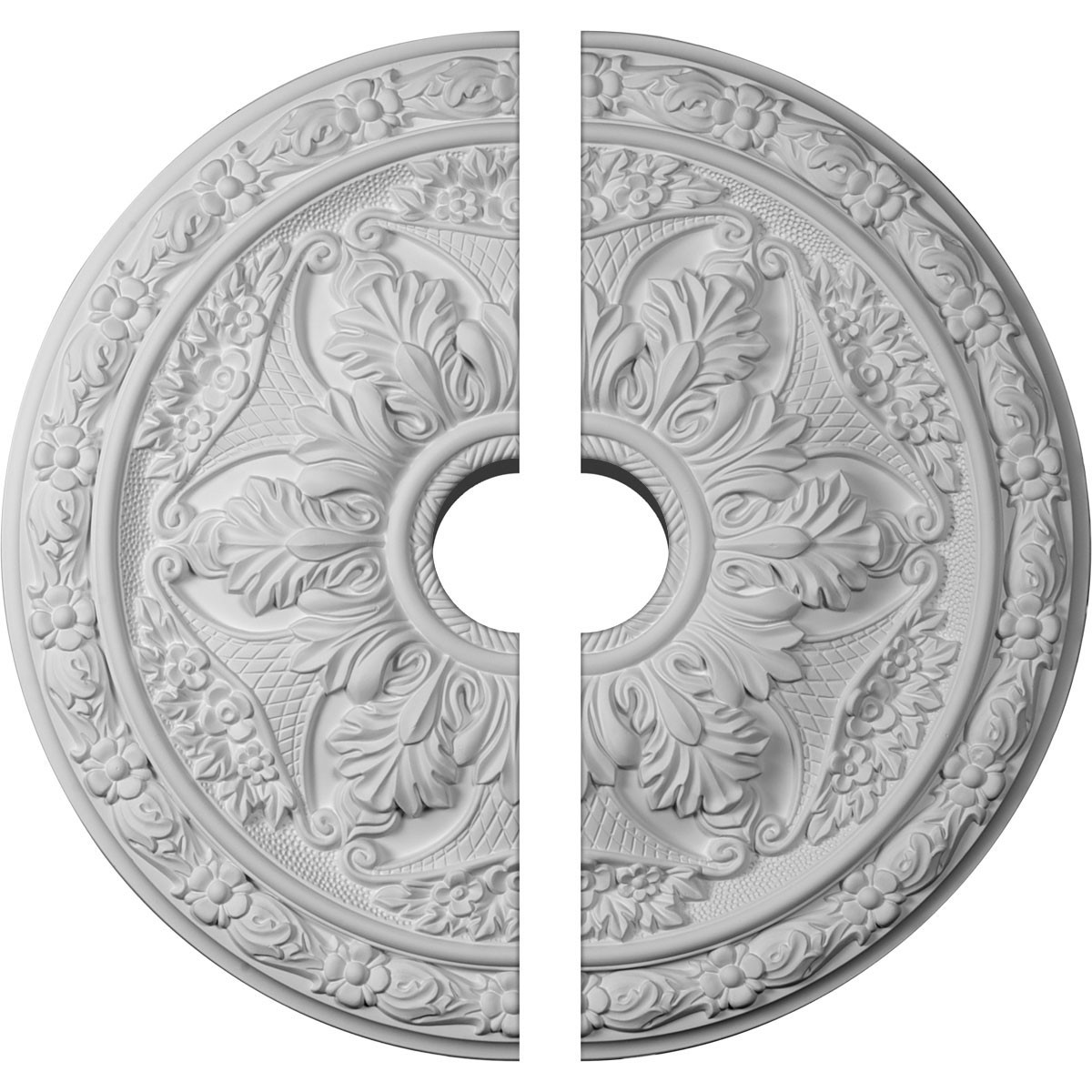 """EM-CM20BL2-03500 - 20""""OD x 3 1/2""""ID x 1 5/8""""P Baile Ceiling Medallion, Two Piece (Fits Canopies up to 3 1/2"""")"""