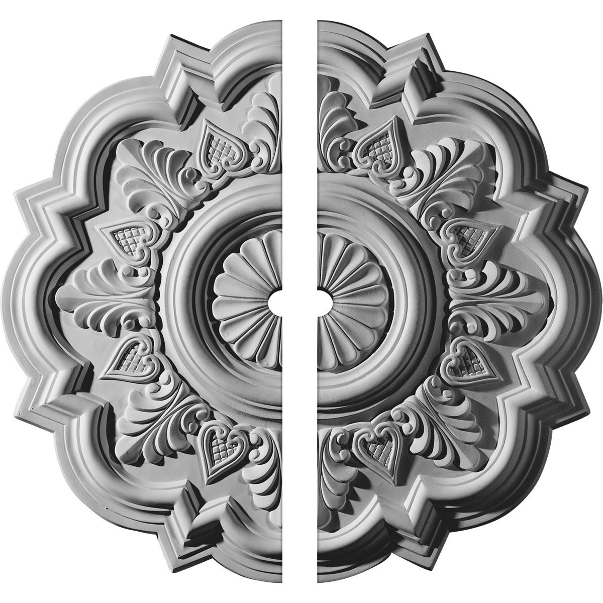 "EM-CM20DR2-01500 - 20 1/4""OD x 1 1/2""ID x 1 1/2""P Deria Ceiling Medallion, Two Piece (Fits Canopies up to 6"")"