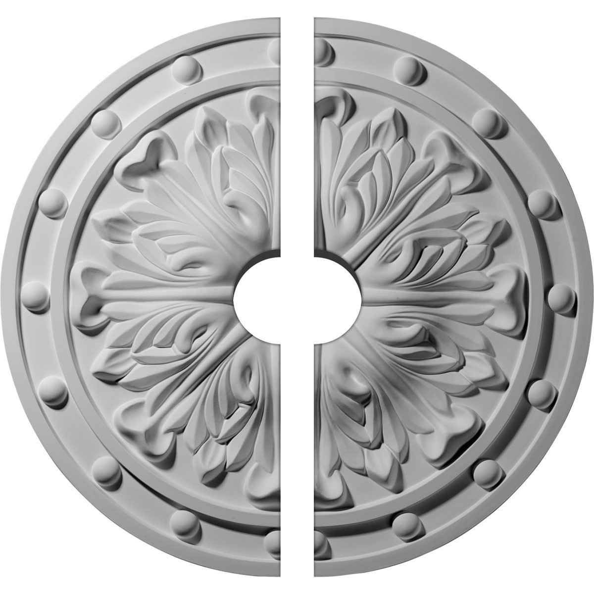 """EM-CM20FO2-03500 - 20 1/2""""OD x 3 1/2""""ID x 1 1/2""""P Foster Acanthus Leaf Ceiling Medallion, Two Piece (Fits Canopies up to 3 1/2"""")"""