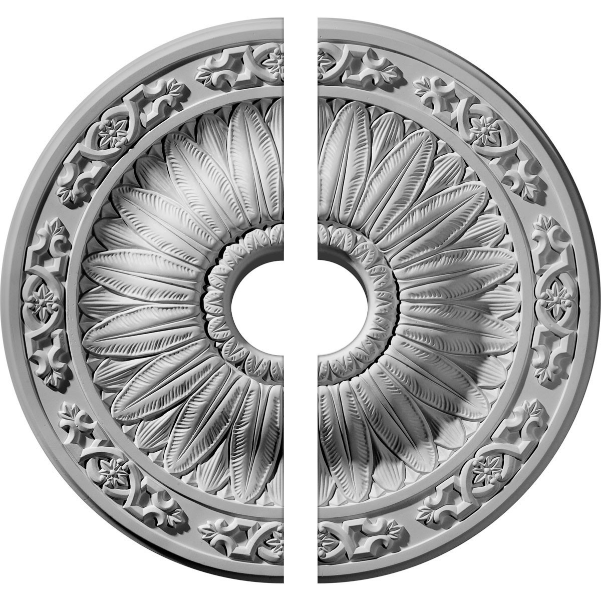 "EM-CM20LU2-03500 - 20 1/4""OD x 3 1/2""ID x 1 1/2""P Lunel Ceiling Medallion, Two Piece (Fits Canopies up to 3 3/4"")"