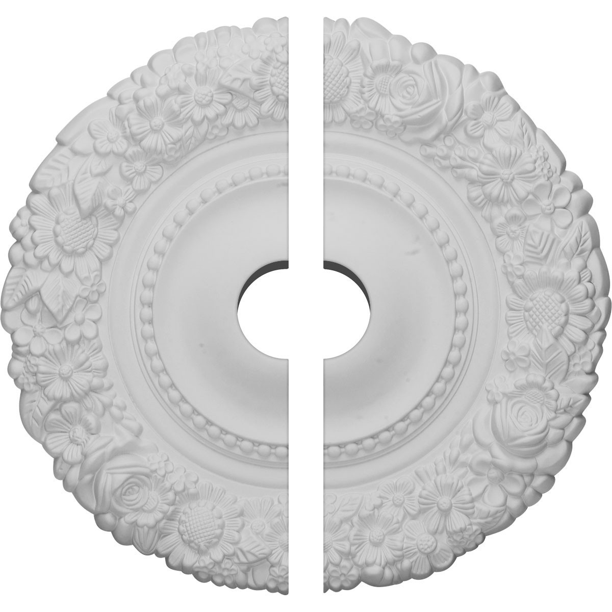 """EM-CM21MA2-03500 - 21""""OD x 3 1/2""""ID x 2""""P Marseille Ceiling Medallion, Two Piece (Fits Canopies up to 7 3/8"""")"""