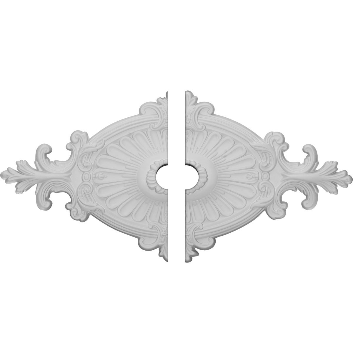 """EM-CM23RO12-03500 - 23 1/2""""W x 12 1/4""""H x 3 1/2""""ID x 1 1/2""""P Quentin Ceiling Medallion, Two Piece (Fits Canopies up to 3 1/2"""")"""