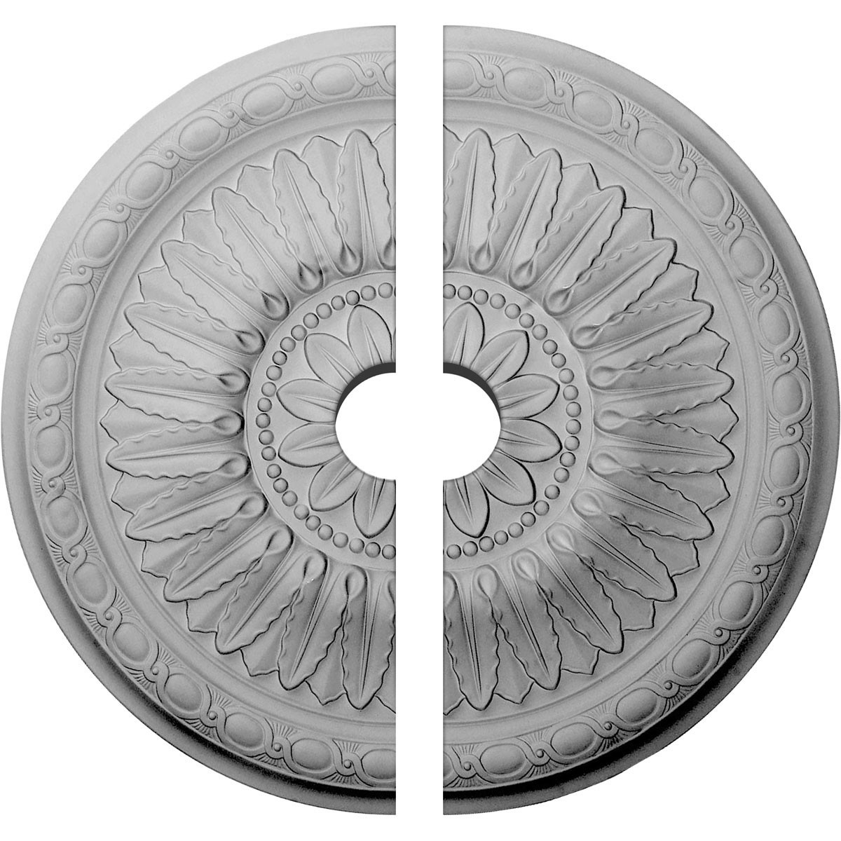 """EM-CM24TE2-03500 - 24""""OD x 3 1/2""""ID x 1 5/8""""P Temple Ceiling Medallion, Two Piece (Fits Canopies up to 9 1/4"""")"""