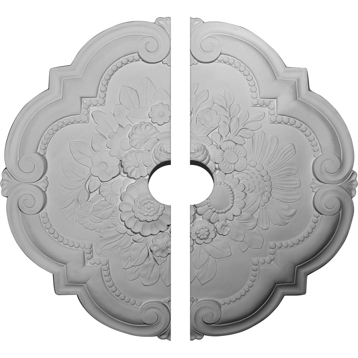 """EM-CM24VI2-03500 - 24 3/8""""OD x 3 1/2""""ID x 1""""P Victorian Ceiling Medallion, Two Piece (Fits Canopies up to 3 1/2"""")"""