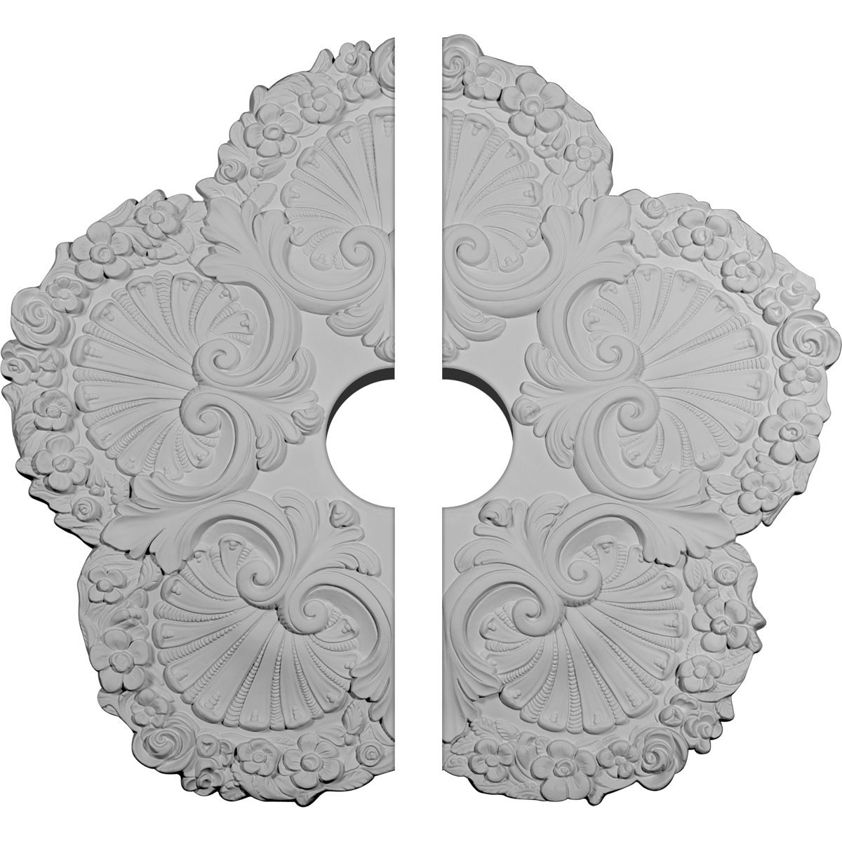 """EM-CM25SH2-04500 - 25 5/8""""OD x 4 1/2""""ID x 1""""P Shell Ceiling Medallion, Two Piece (Fits Canopies up to 4 1/2"""")"""