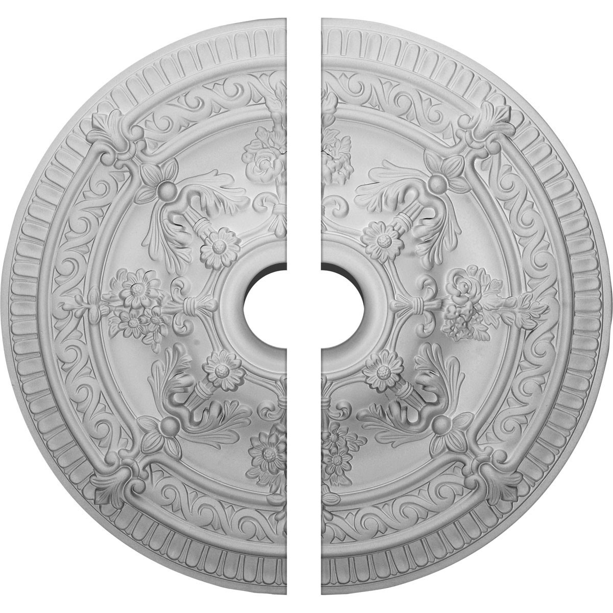 """EM-CM26VI2-04000 - 26""""OD x 4""""ID x 3""""P Vincent Ceiling Medallion, Two Piece (Fits Canopies up to 6"""")"""