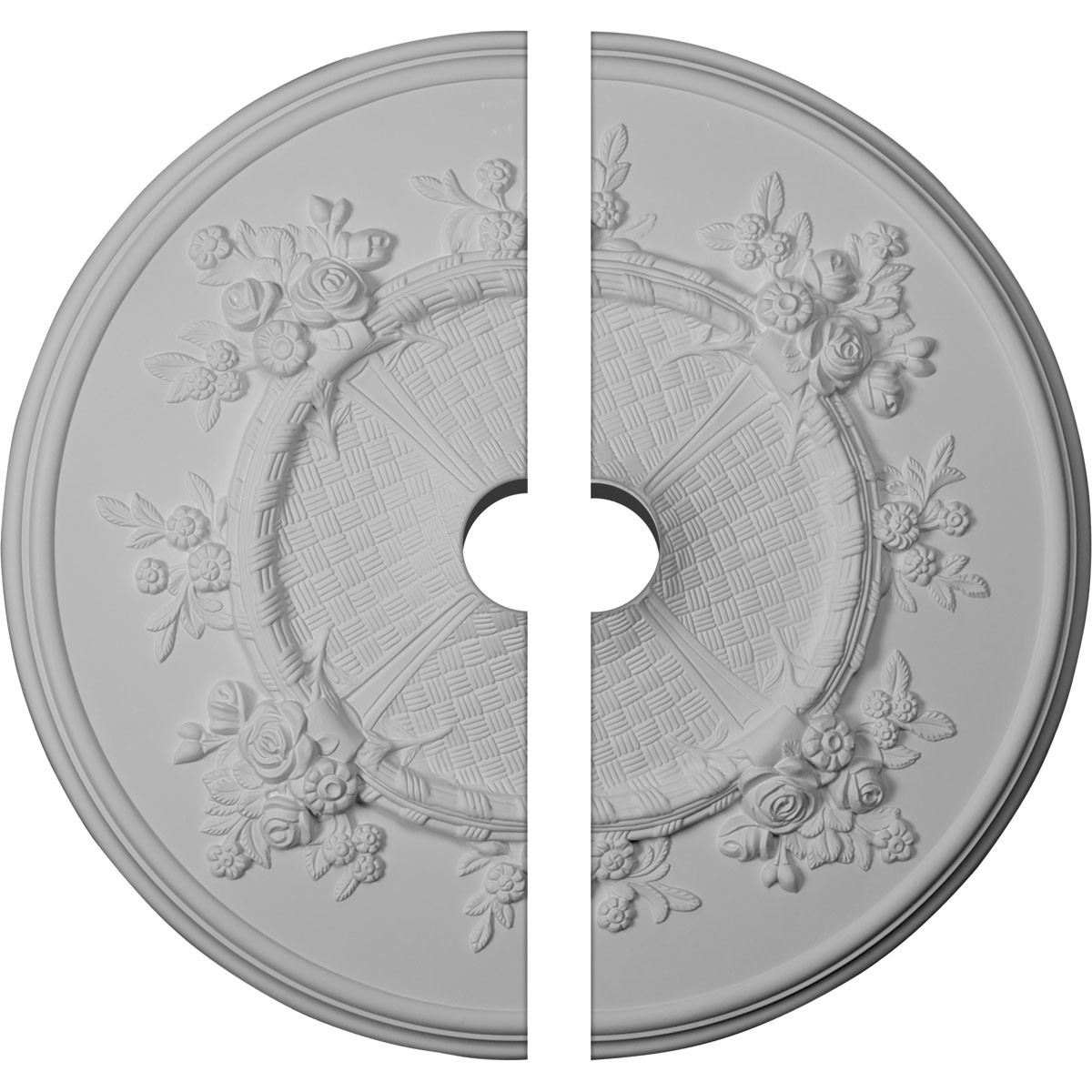 """EM-CM27FL2-03500 - 27""""OD x 3 1/2""""ID x 1 1/8""""P Flower Ceiling Medallion, Two Piece (Fits Canopies up to 3 7/8"""")"""