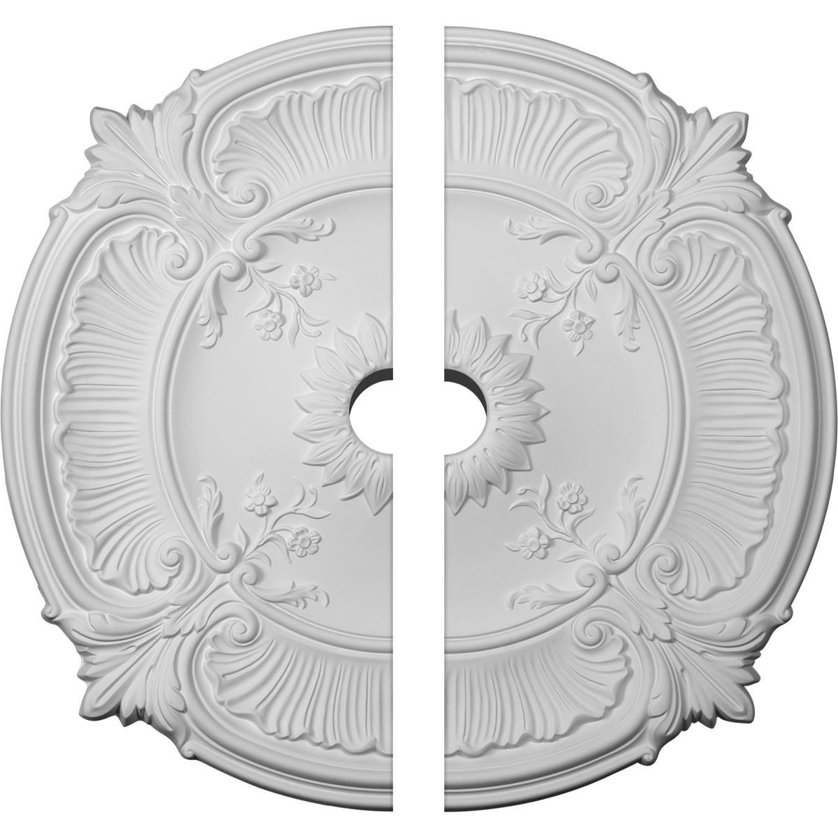 """EM-CM30AT2-03000 - 30 1/8""""OD x 3""""ID x 1 1/2""""P Attica Acanthus Leaf Ceiling Medallion, Two Piece (Fits Canopies up to 3 1/4"""")"""