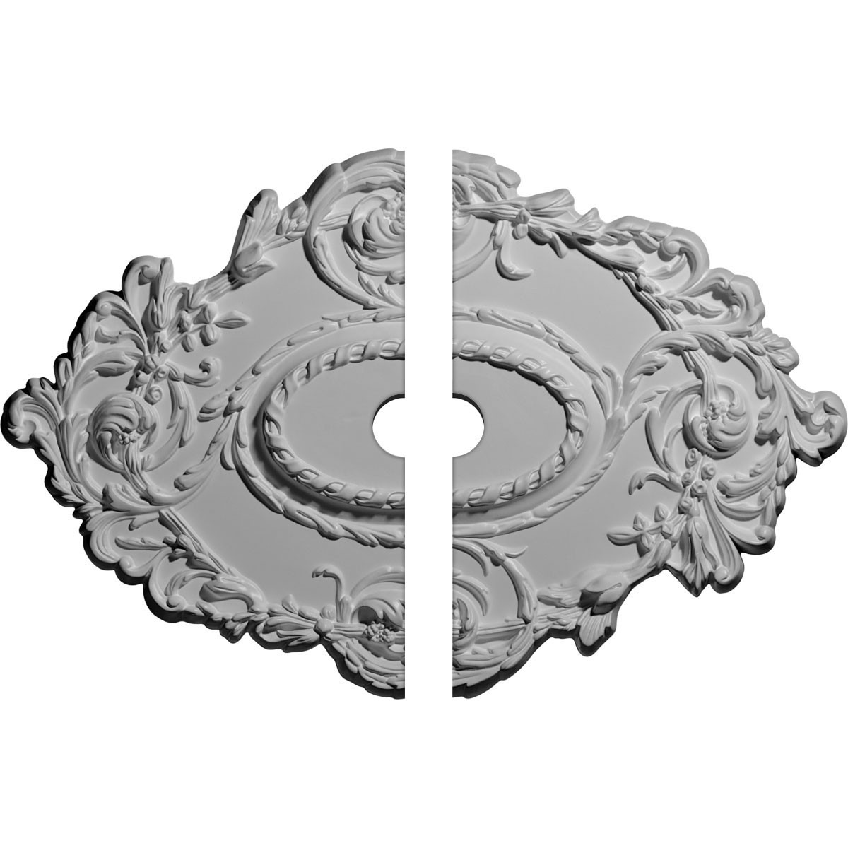 """EM-CM30KI2-02500 - 30 3/8""""W x 20 3/4""""H x 2 1/2""""ID x 1""""P Kinsley Flowing Leaf Ceiling Medallion, Two Piece (Fits Canopies up to 2 1/2"""")"""