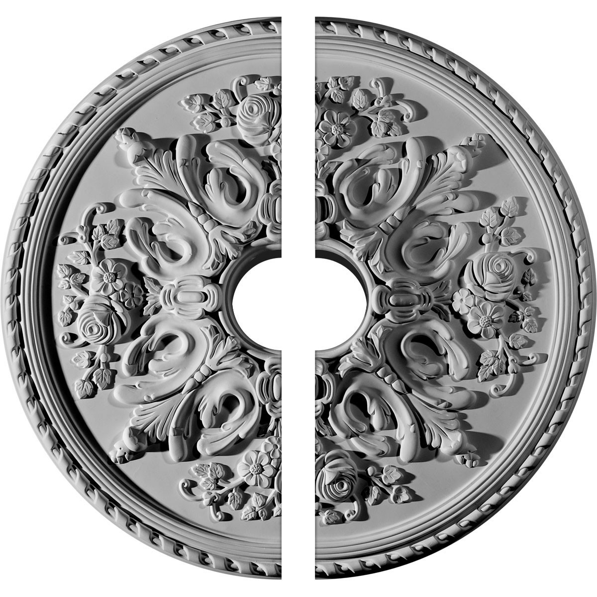 """EM-CM32BR2-06000 - 32 5/8""""OD x 6""""ID x 2""""P Bradford Ceiling Medallion, Two Piece (Fits Canopies up to 6 5/8"""")"""