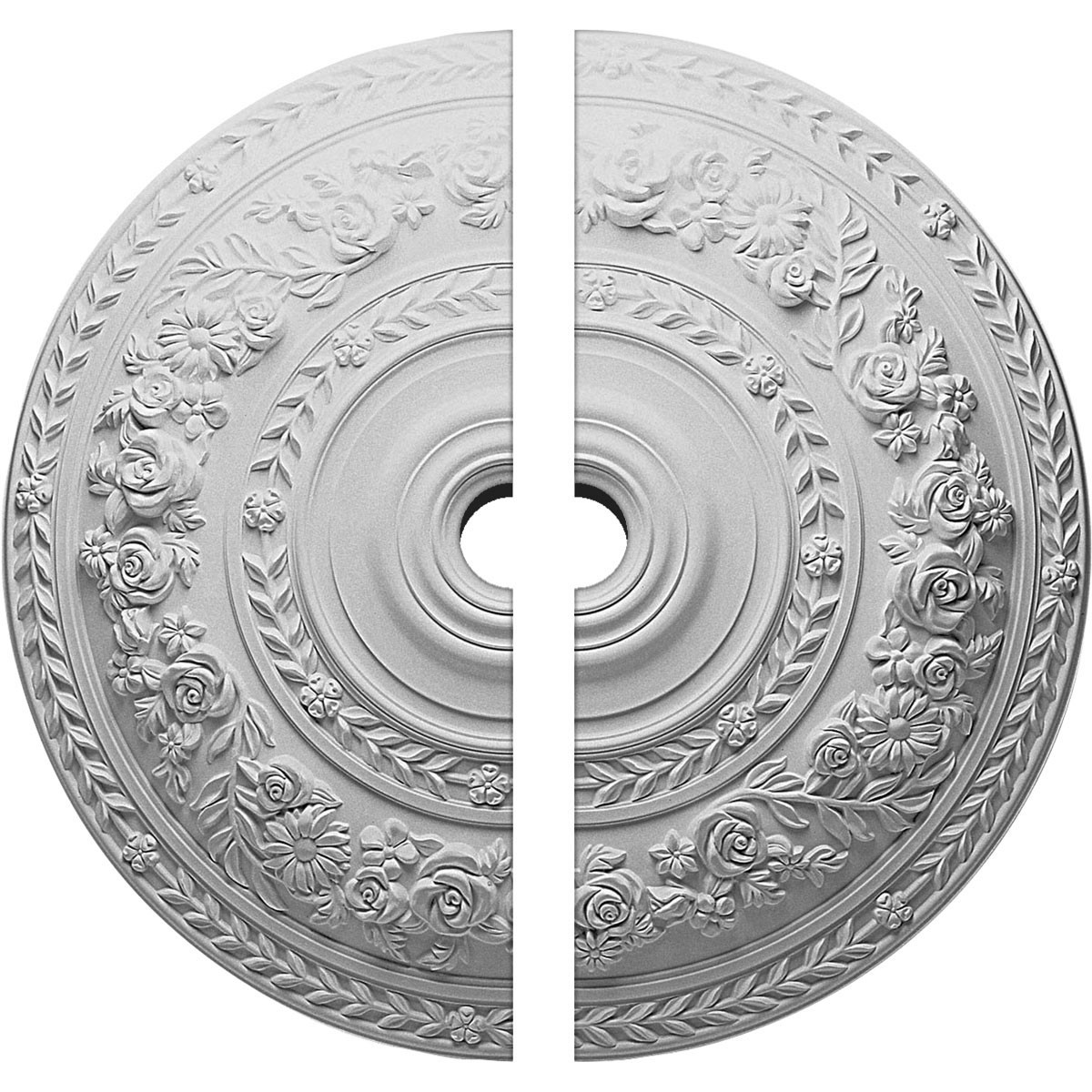 """EM-CM33RO2-02000 - 33 7/8""""OD x 2""""ID x 2 3/8""""P Rose Ceiling Medallion, Two Piece (Fits Canopies up to 13 1/2"""")"""