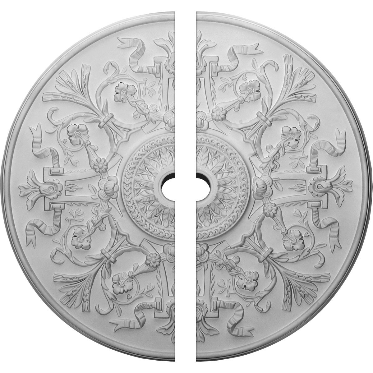 """EM-CM33VE2-02500 - 33""""OD x 2 1/2""""ID x 1 3/4""""P Versailles Ceiling Medallion, Two Piece (Fits Canopies up to 3 1/4"""")"""