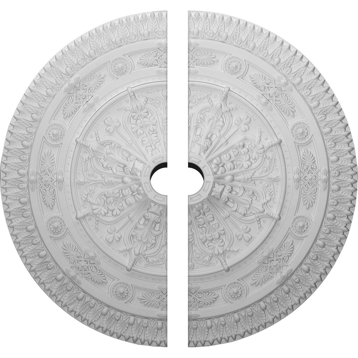 """EM-CM37NA2-05000 - 37 1/2""""OD x 5""""ID x 3 3/8""""P Naple Ceiling Medallion, Two Piece (Fits Canopies up to 3 1/2"""")"""