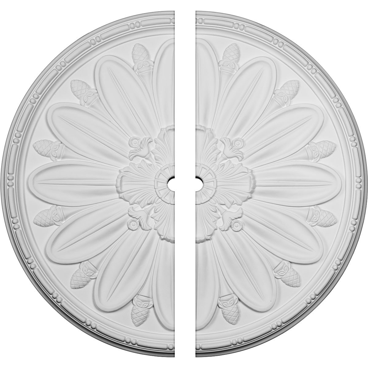 """EM-CM40DL2-02000 - 40""""OD x 2""""ID x 1 7/8""""P Delfina Ceiling Medallion, Two Piece (Fits Canopies up to 2"""")"""