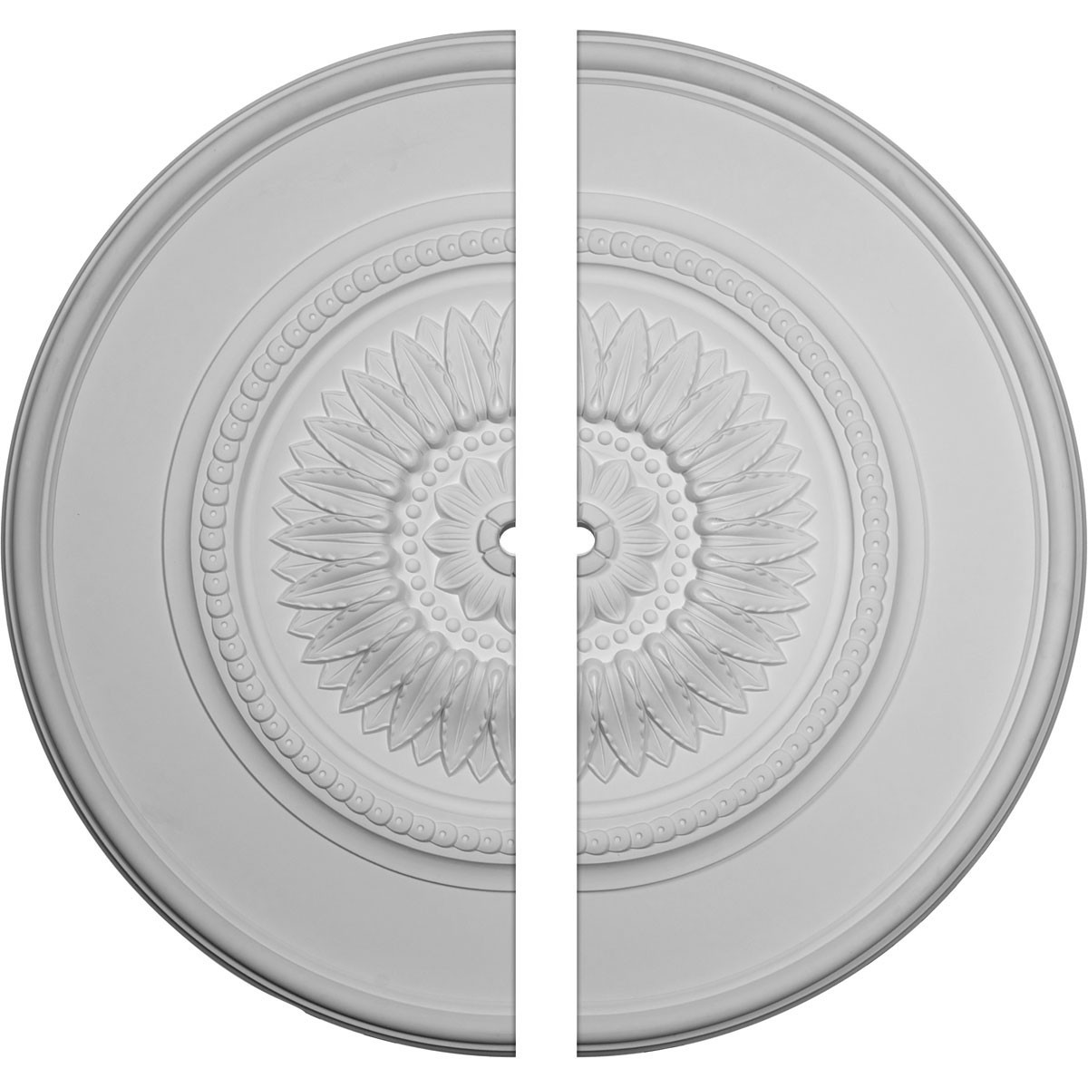 """EM-CM41FL2-01500 - 41 1/8""""OD x 1 1/2""""ID x 2 1/2""""P Large Floral Ceiling Medallion, Two Piece (Fits Canopies up to 1 1/2"""")"""