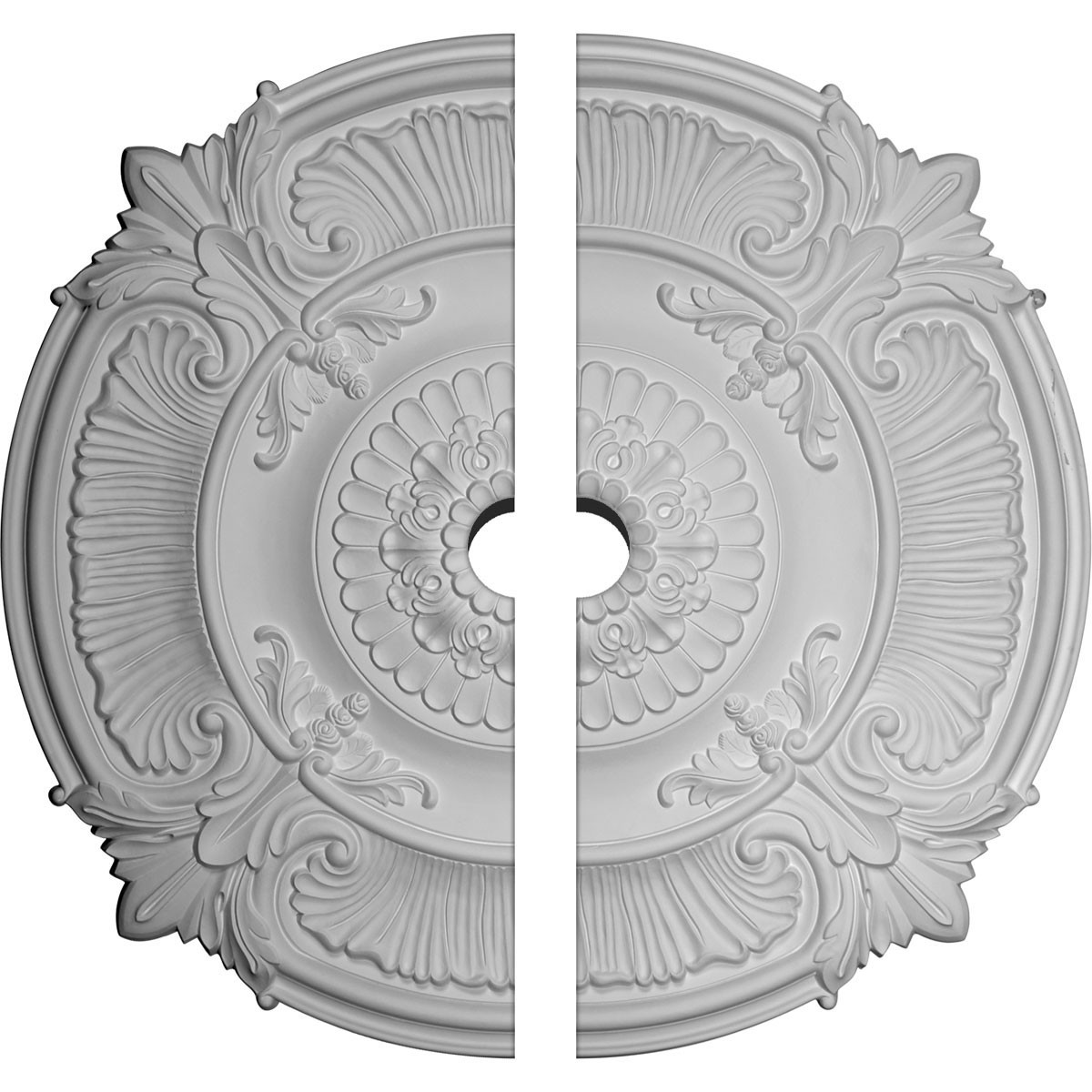 """EM-CM53AT2-05000 - 53 1/2""""OD x 5""""ID x 3 1/2""""P Attica Acanthus Leaf Ceiling Medallion, Two Piece (Fits Canopies up to 5"""")"""