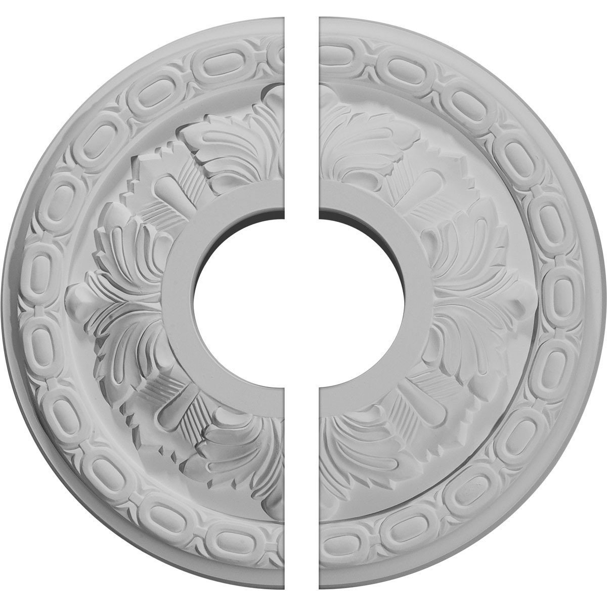 "EM-CM11LF2 - 11 3/8""OD x 3 5/8""ID x 1 1/8""P Leaf Ceiling Medallion, Two Piece (Fits Canopies up to 4 3/4"")"
