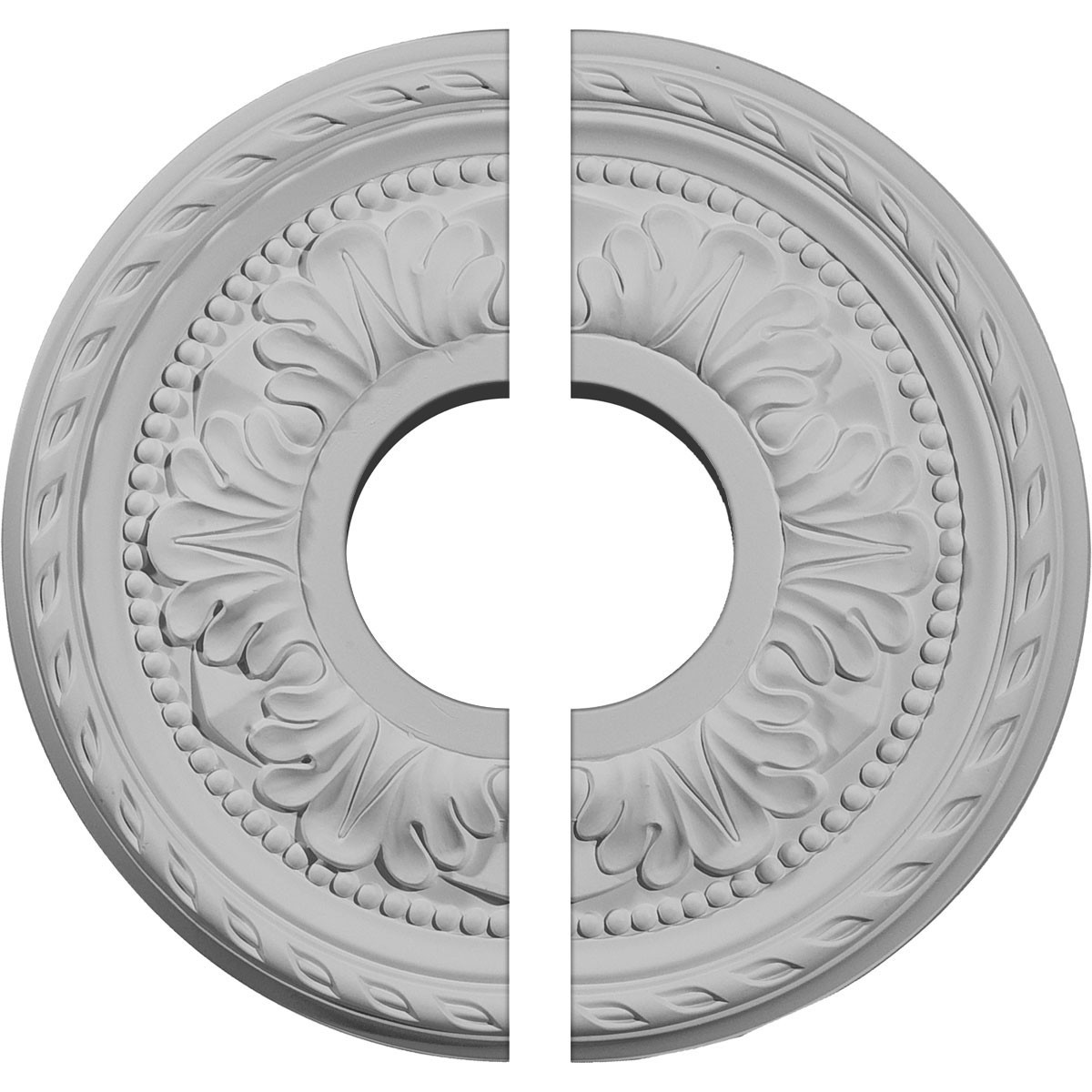 """EM-CM11PM2 - 11 3/8""""OD x 3 5/8""""ID x 7/8""""P Palmetto Ceiling Medallion, Two Piece (Fits Canopies up to 4 1/2"""")"""