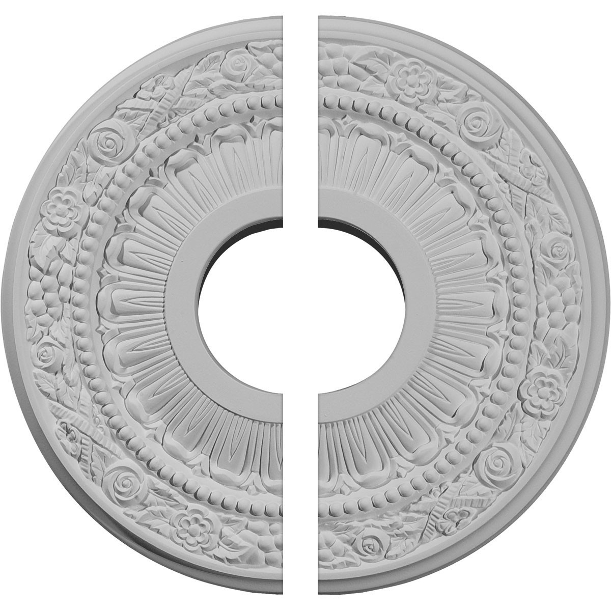 """EM-CM12NA2 - 12 1/8""""OD x 3 5/8""""ID x 7/8""""P Nadia Ceiling Medallion, Two Piece (Fits Canopies up to 4 7/8"""")"""