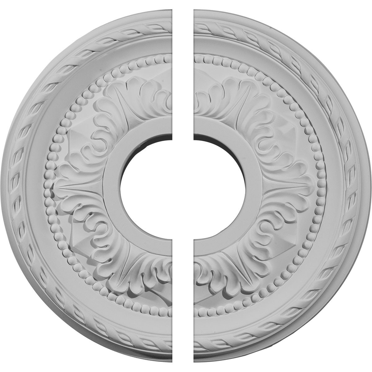 """EM-CM12PM2 - 12 1/8""""OD x 3 1/2""""ID x 1""""P Palmetto Ceiling Medallion, Two Piece (Fits Canopies up to 4 7/8"""")"""