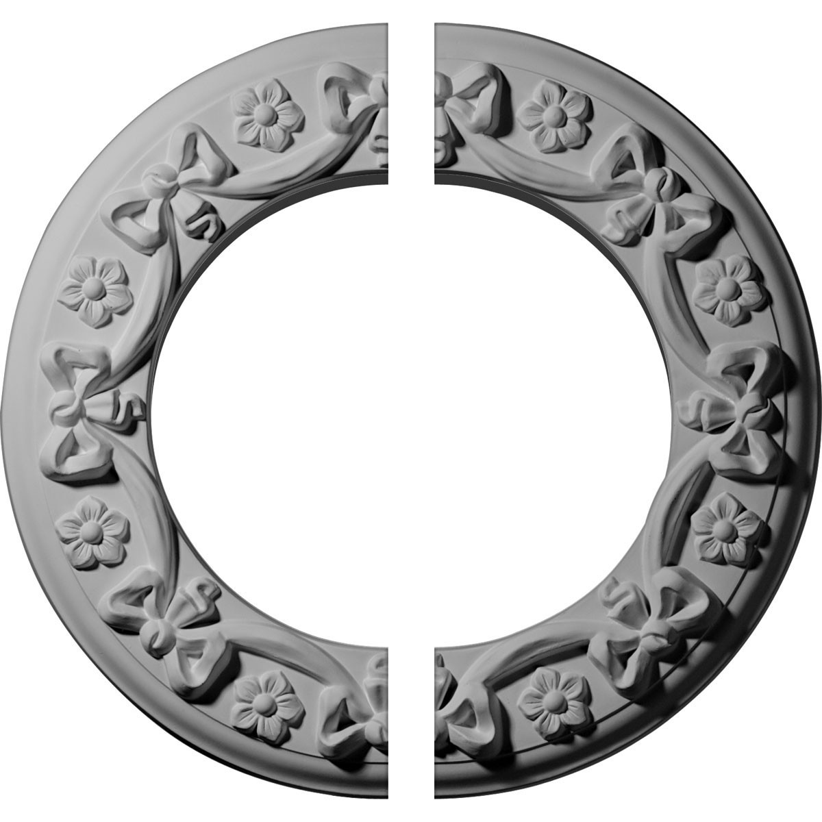 """EM-CM12RI2 - 12 1/4""""OD x 7 1/2""""ID x 7/8""""P Ribbon with Bow Ceiling Medallion, Two Piece (Fits Canopies up to 7 1/2"""")"""