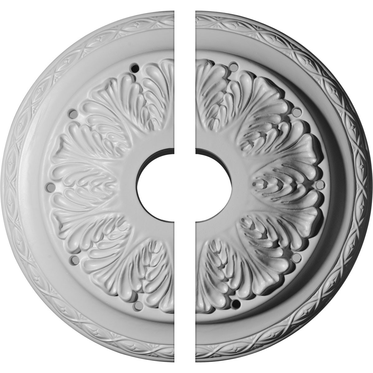 "EM-CM13AS2 - 13 3/4""OD x 2 3/4""ID x 3""P Asa Ceiling Medallion, Two Piece (Fits Canopies up to 4 1/2"")"