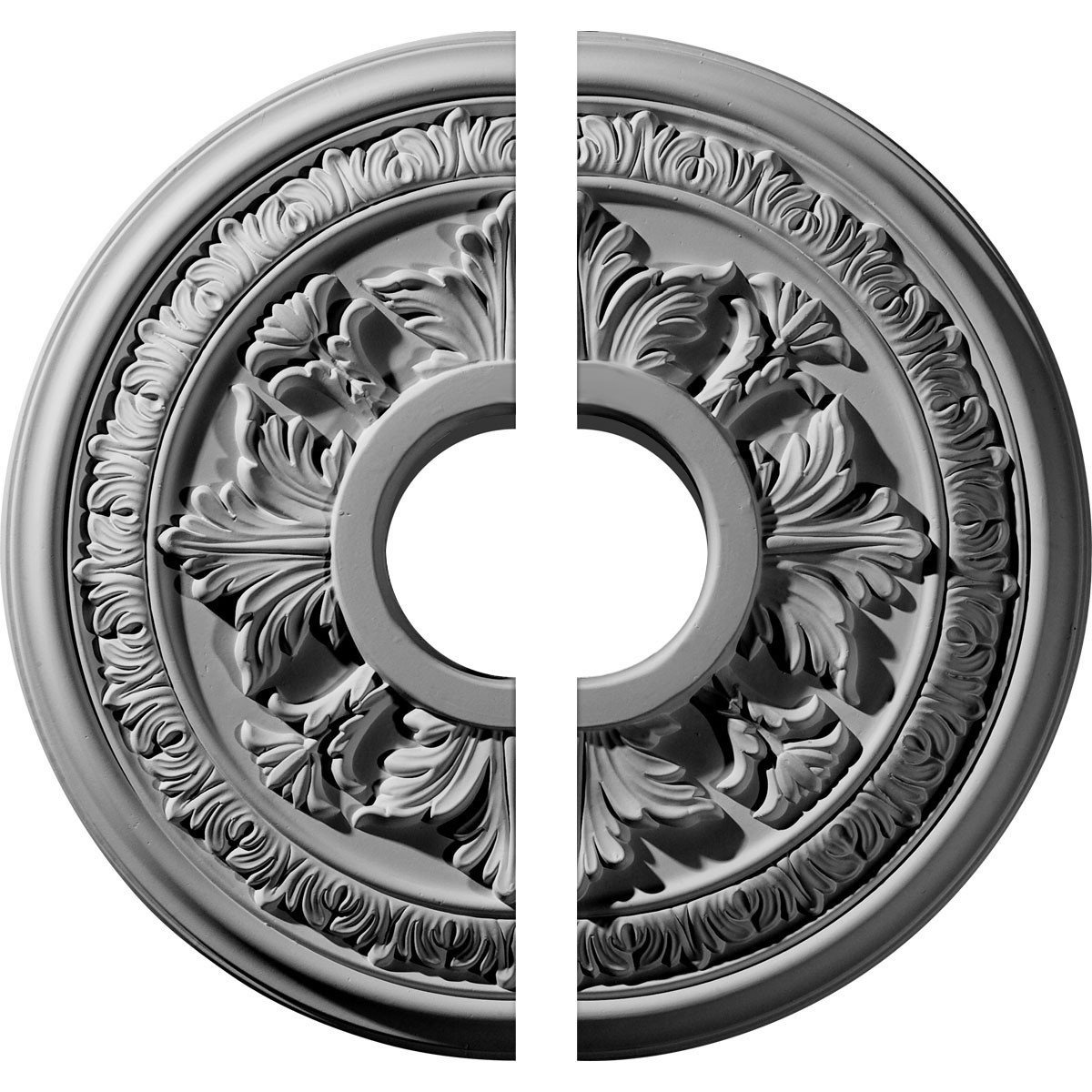 "EM-CM15BA2 - 15 3/8""OD x 4 1/4""ID x 1 1/2""P Baltimore Ceiling Medallion, Two Piece (Fits Canopies up to 5 1/2"")"