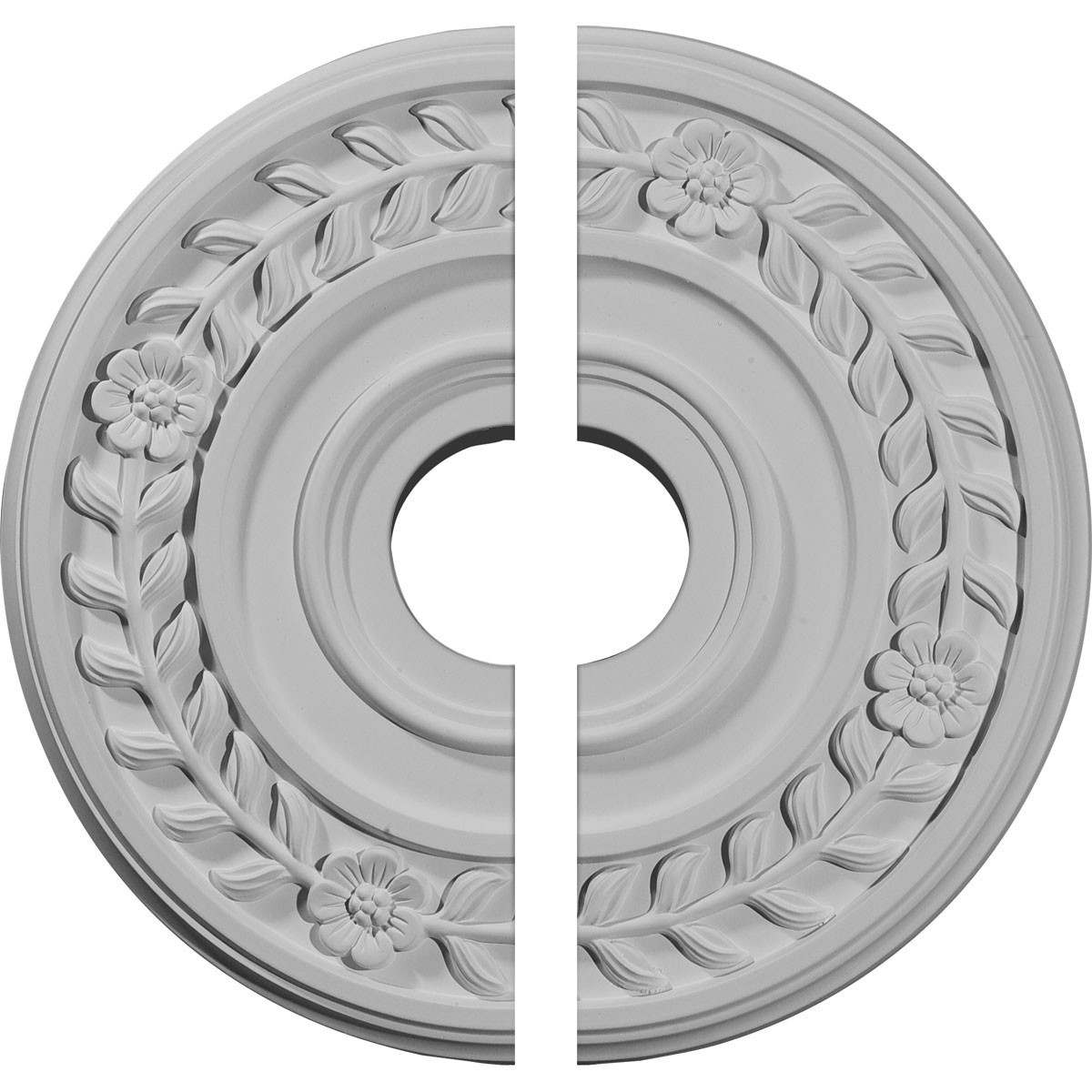 "EM-CM16WR2 - 16 1/4""OD x 3 5/8""ID x 1""P Wreath Ceiling Medallion, Two Piece (Fits Canopies up to 5 1/2"")"