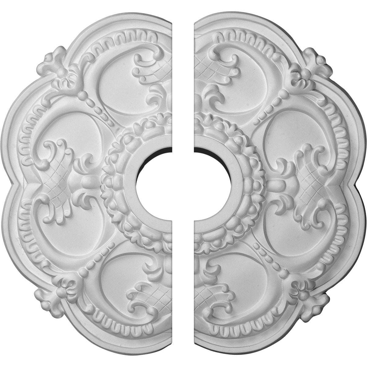 "EM-CM17RO2 - 18""OD x 3 1/2""ID x 1 1/2""P Rotherham Ceiling Medallion, Two Piece (Fits Canopies up to 3 1/2"")"