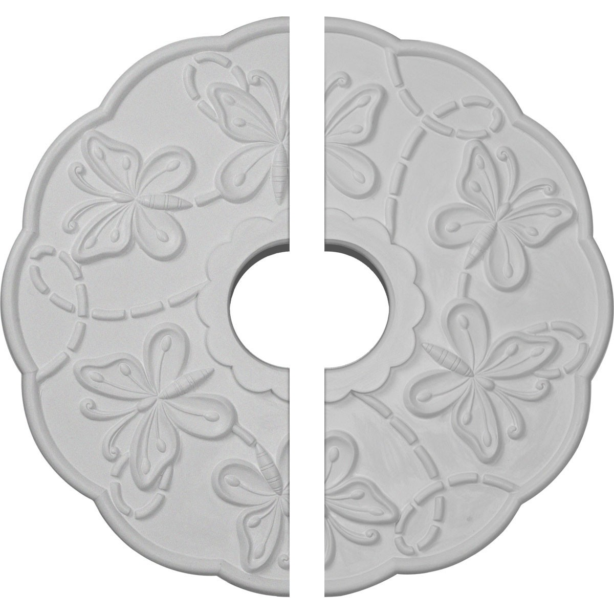 """EM-CM17TS2 - 17 7/8""""OD x 3 7/8""""ID x 1""""P Terrones Butterfly Ceiling Medallion, Two Piece (Fits Canopies up to 3 7/8"""")"""