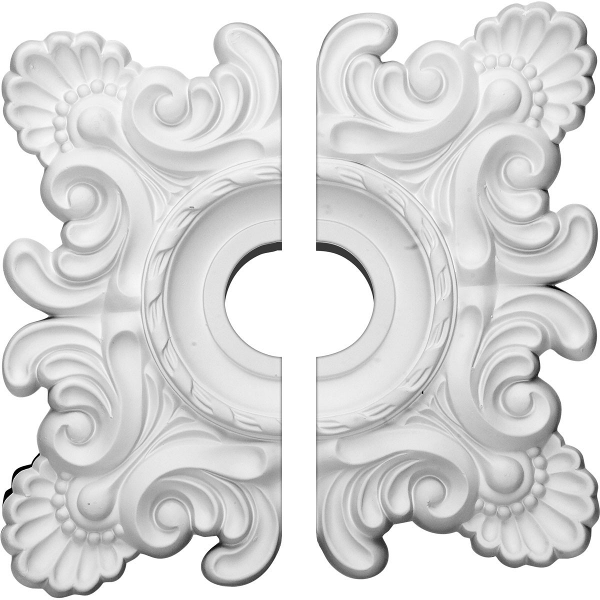 """EM-CM18CR2 - 18""""W x 18""""H x 3 1/4""""ID x 1 1/2""""P Crawley Ceiling Medallion, Two Piece (Fits Canopies up to 6 3/4"""")"""